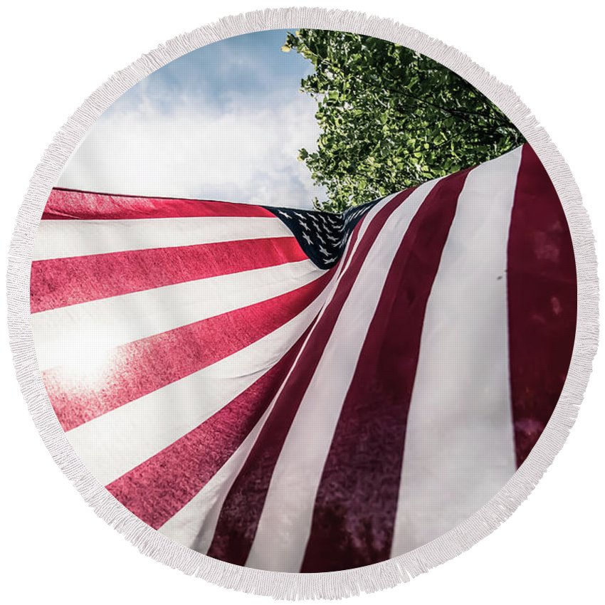 American Round Beach Towel featuring the photograph Home Of The Free by Patricia Mast