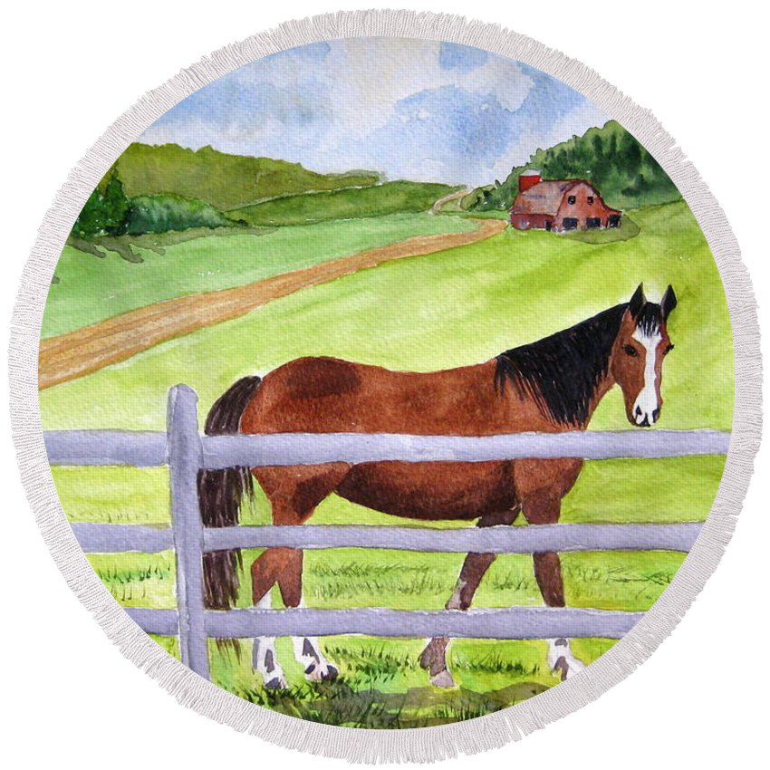 Horse Round Beach Towel featuring the painting Home On The Farm by Julia Rietz