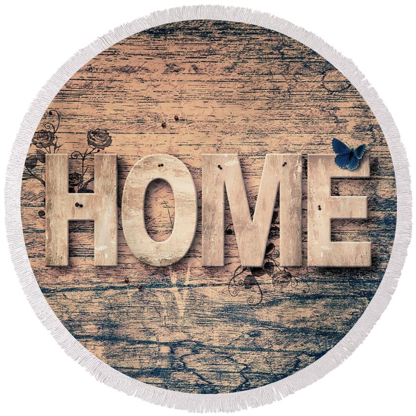 Home Round Beach Towel featuring the mixed media Home by Pixabay