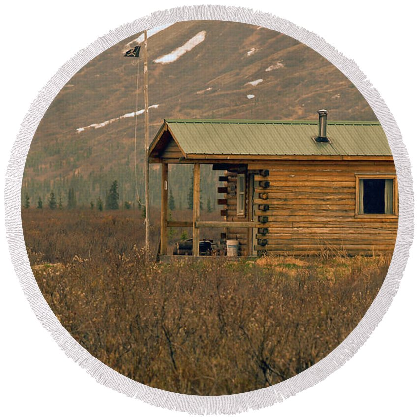 Log Cabin Round Beach Towel featuring the photograph Home Sweet Fishing Home In Alaska by Denise McAllister