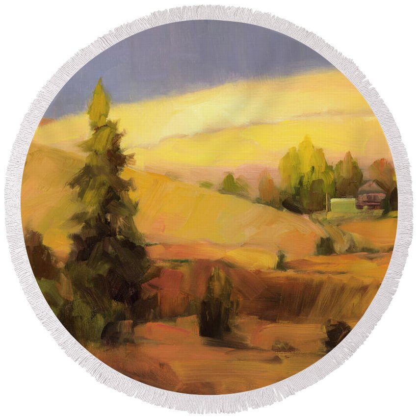 Country Round Beach Towel featuring the painting Homeland 2 by Steve Henderson