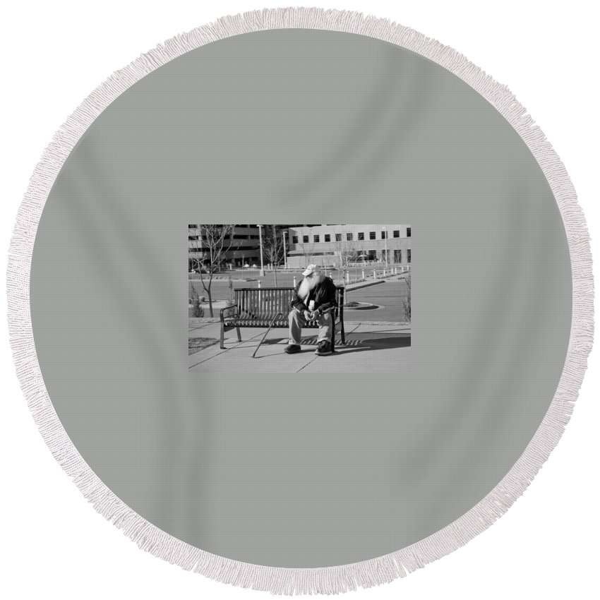 Portrait Round Beach Towel featuring the photograph Homeless Man by Angus Hooper Iii