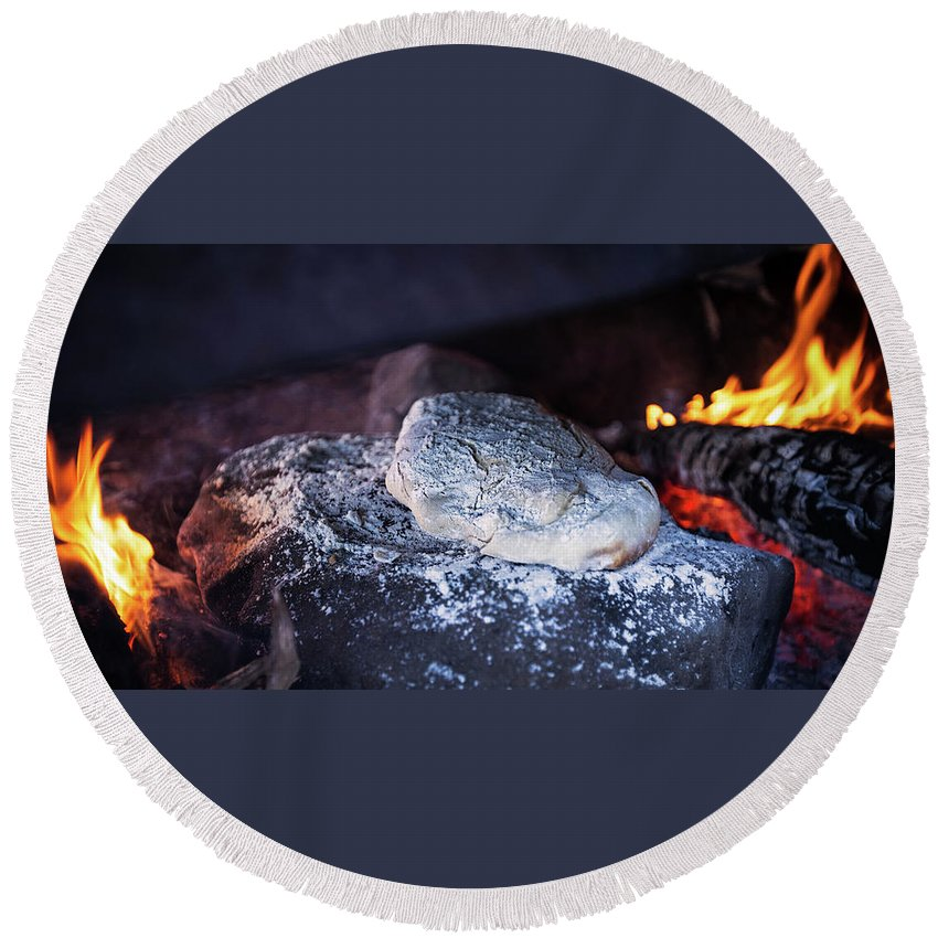 Craft Homemade Bread Food Eat Fire Pit Wood Round Beach Towel featuring the photograph Homemade Bread by Rodrigo Kaspary