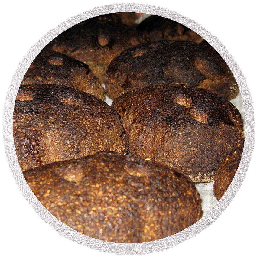 Food Round Beach Towel featuring the photograph Homemade Lithuanian Rye Bread by Ausra Huntington nee Paulauskaite