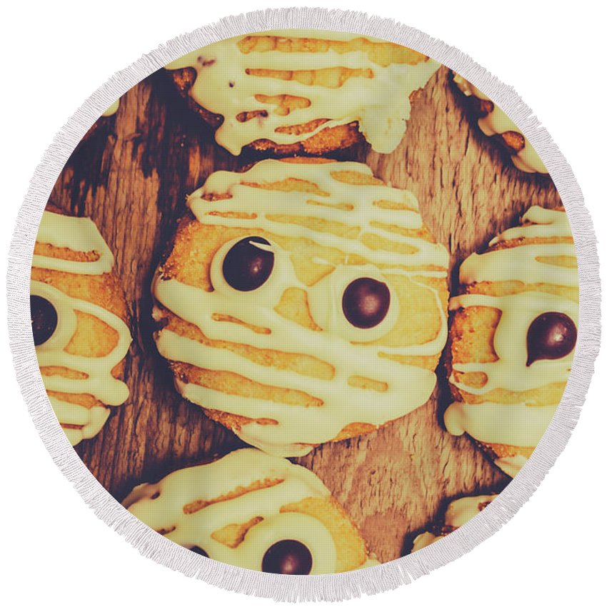 Halloween Round Beach Towel featuring the photograph Homemade Mummy Cookies by Jorgo Photography - Wall Art Gallery