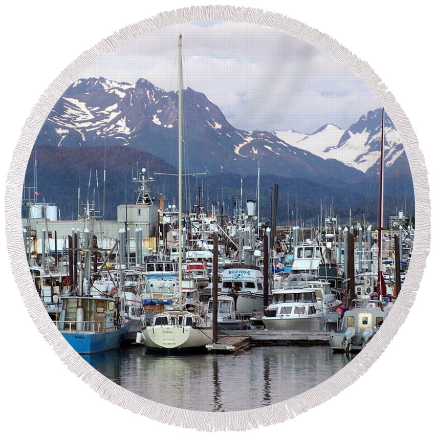 Homer Alaska Round Beach Towel featuring the photograph Homer Harbor by Marty Koch