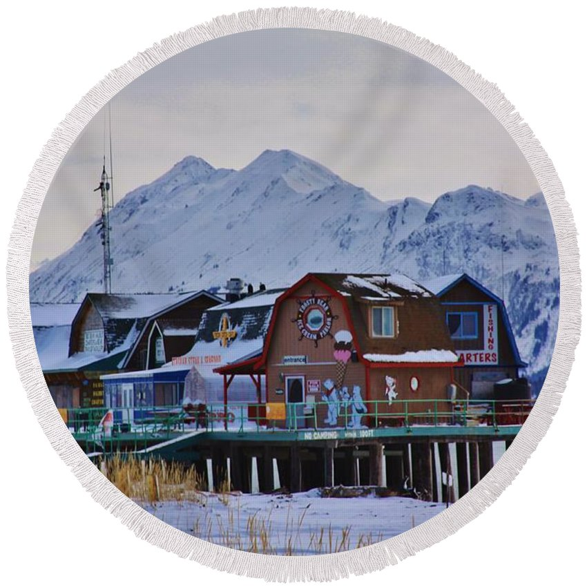 Homer Spit Board Walk Winter Moments Round Beach Towel featuring the photograph Homer Spit Board Walk Winter Moments by Lori Mahaffey