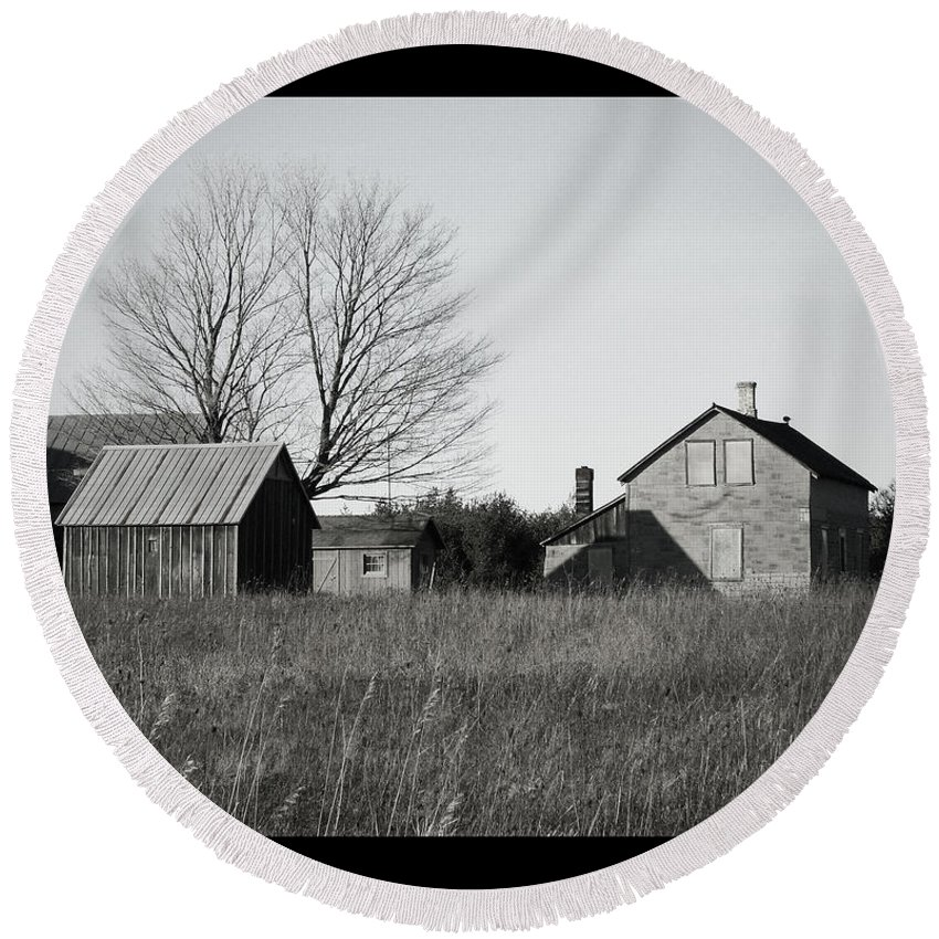 Deserted Round Beach Towel featuring the photograph Homestead by Tim Nyberg