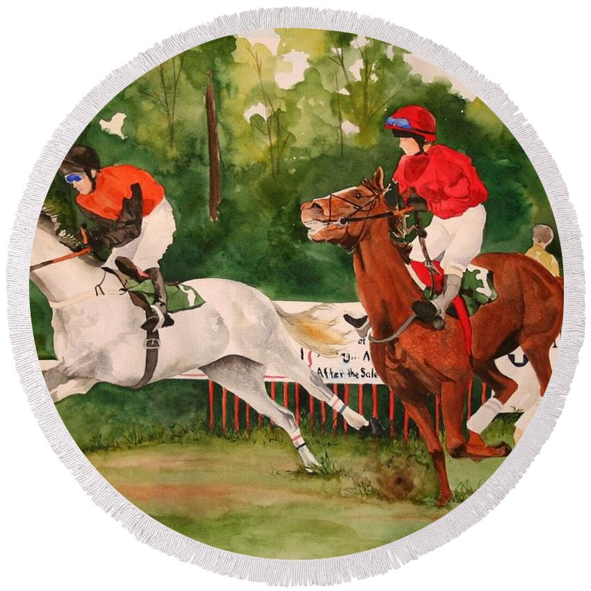 Racing Round Beach Towel featuring the painting Homestretch by Jean Blackmer