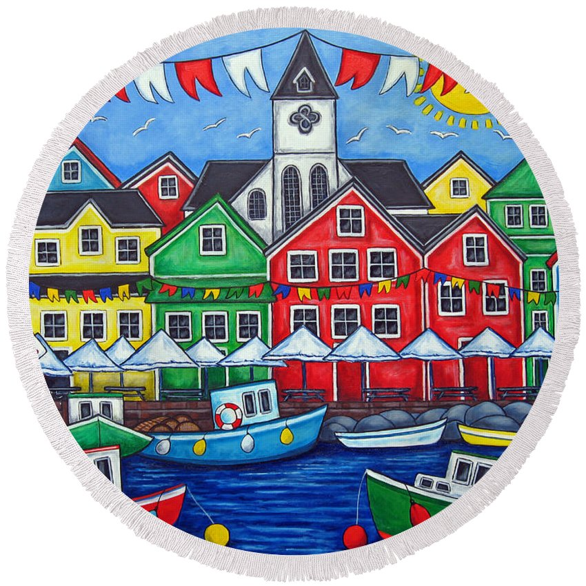 Boats Canada Colorful Docks Festival Fishing Flags Green Harbor Harbour Round Beach Towel featuring the painting Hometown Festival by Lisa Lorenz