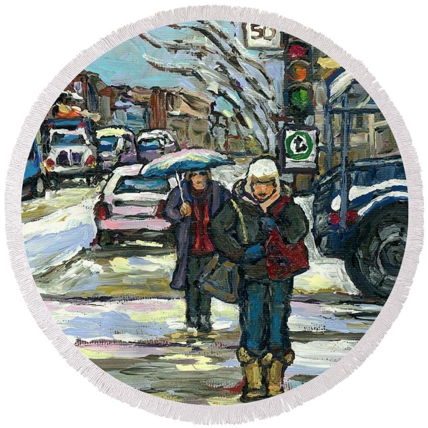 Original Montreal Paintings For Sale Round Beach Towel featuring the painting Rue Cote St Catherine Peintures Petit Format A Vendre Scenes De Ville Montreal Street Scenes by Carole Spandau