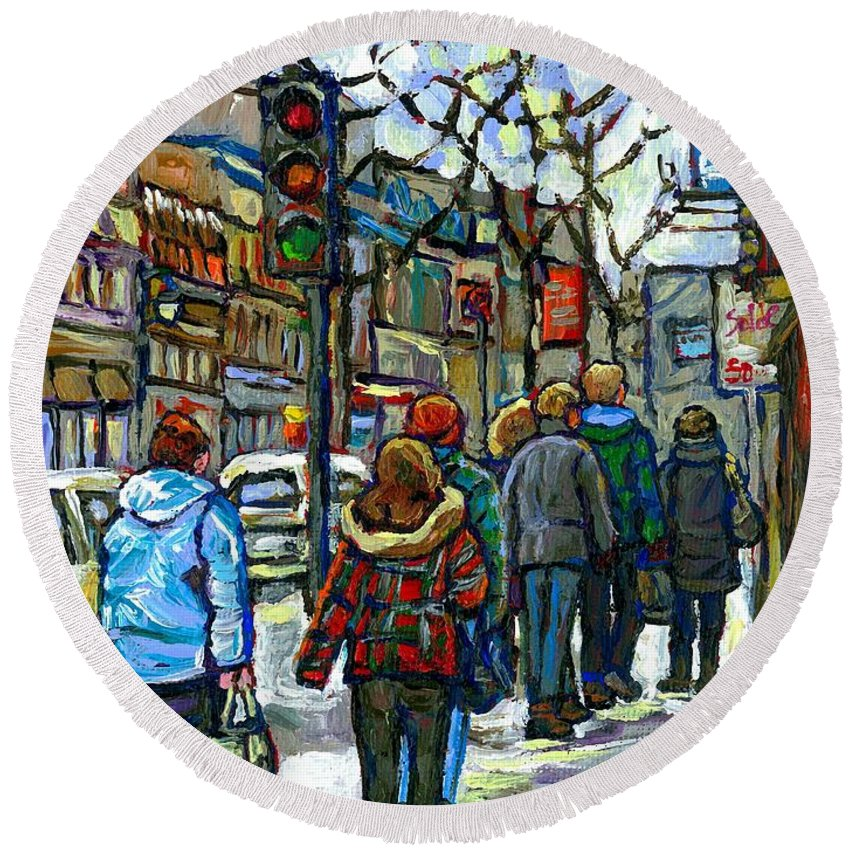 Original Montreal Paintings For Sale Round Beach Towel featuring the painting Promenade Au Centre Ville Rue Ste Catherine Montreal Winter Street Scene Small Paintings For Sale by Carole Spandau