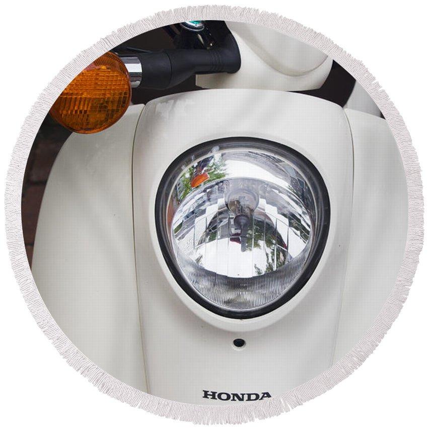 Honda Round Beach Towel featuring the photograph Honda Scooter by Carlos Diaz