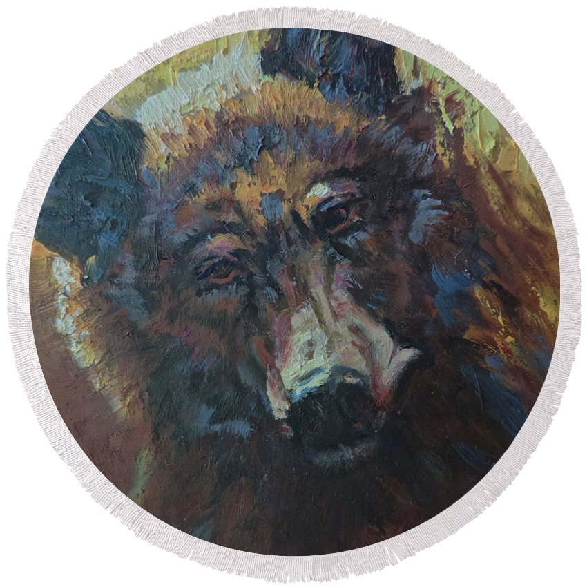 Bear Round Beach Towel featuring the painting Honey Bear by Mia DeLode