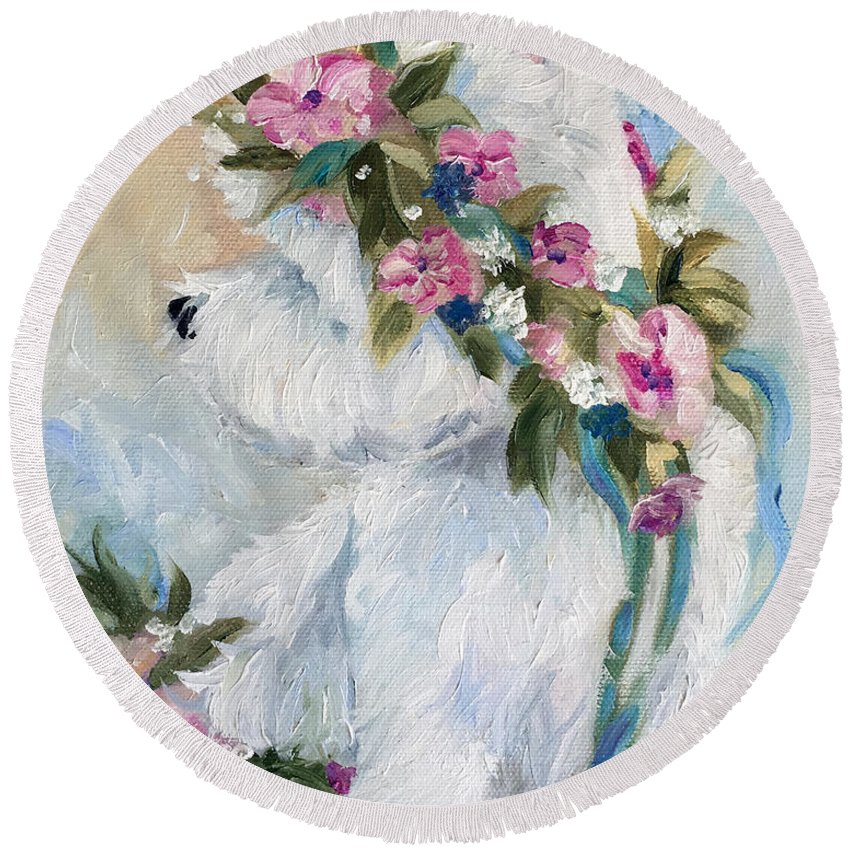 Westie Round Beach Towel featuring the painting Honey by Mary Sparrow