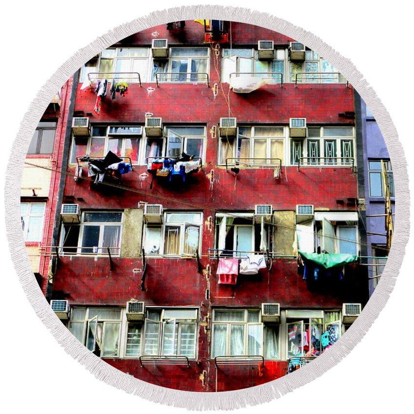 Hong Kong Round Beach Towel featuring the photograph Hong Kong Apartment 1 by Randall Weidner