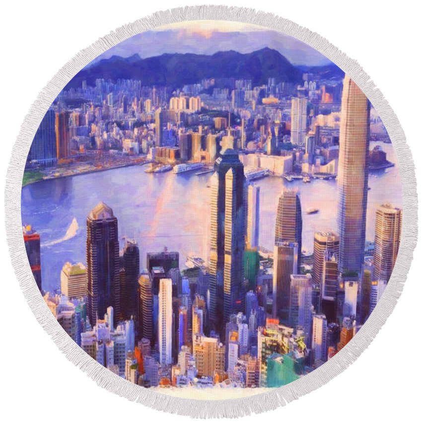 Apartments Round Beach Towel featuring the painting Hong Kong Panorama by Jeelan Clark