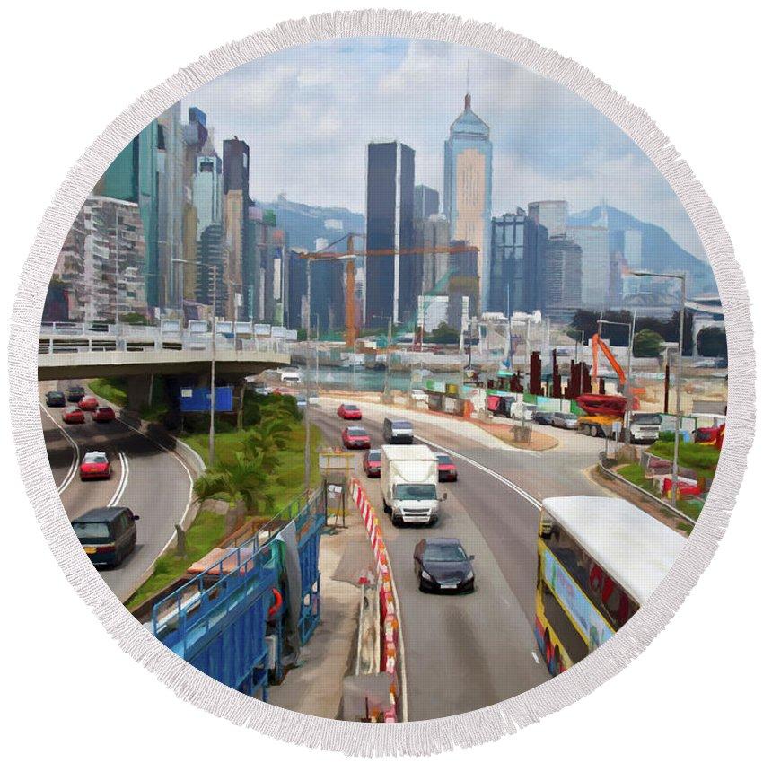 Hong Kong Round Beach Towel featuring the digital art Hong Kong Traffic II by Ronald Bolokofsky