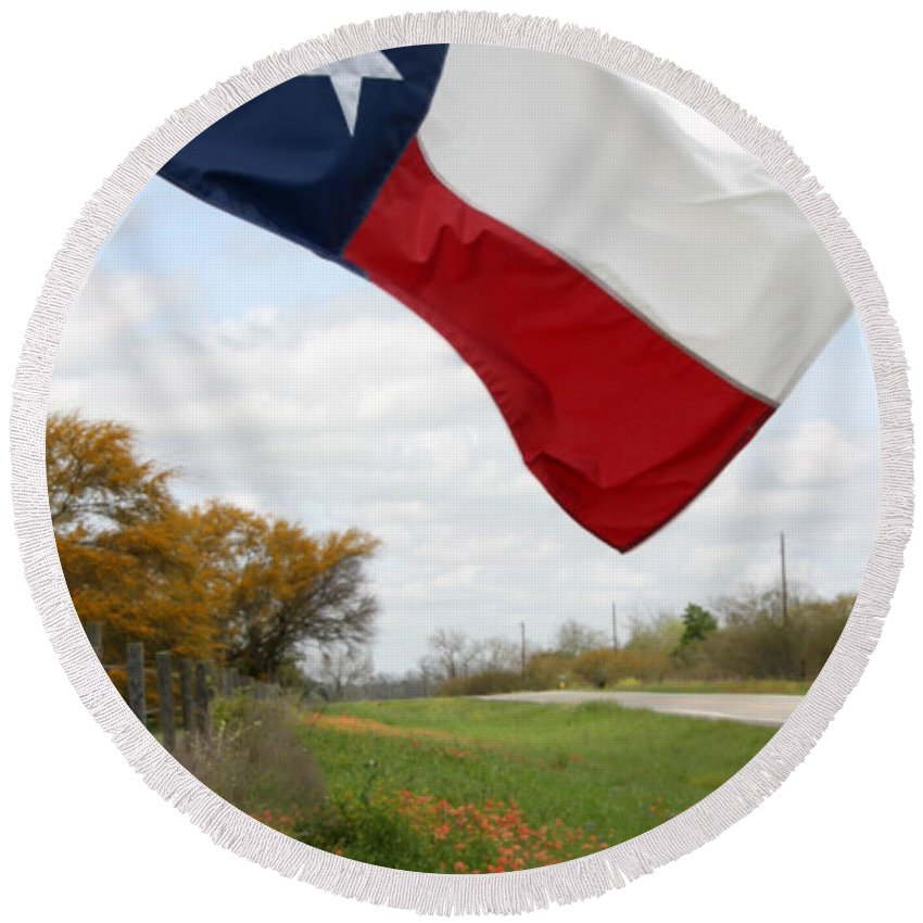 Texas Round Beach Towel featuring the photograph Honor The Texas Flag by Amy Steeples