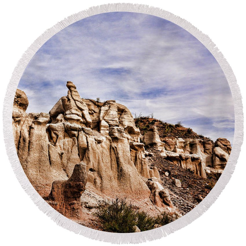 America Round Beach Towel featuring the photograph Hoodoos by Judy Vincent