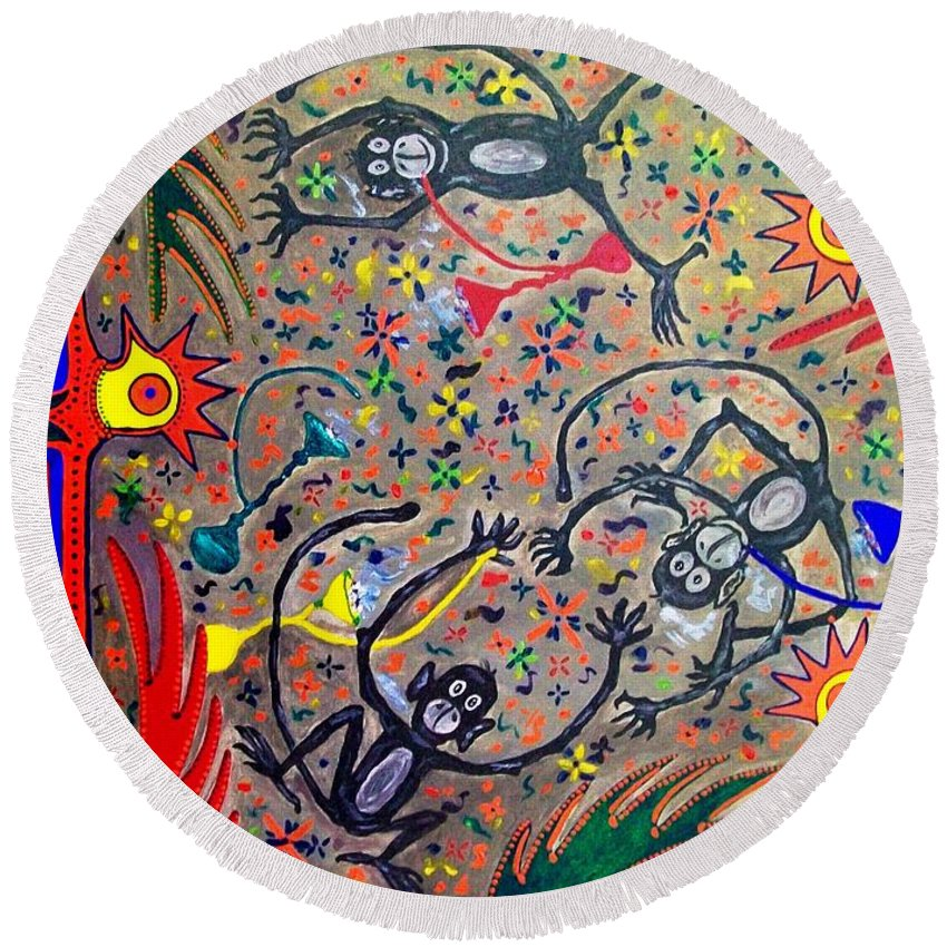 Contemporary Folk Art Round Beach Towel featuring the painting Hookah Monkeys - Jinga Monkeys Series by Fareeha Khawaja