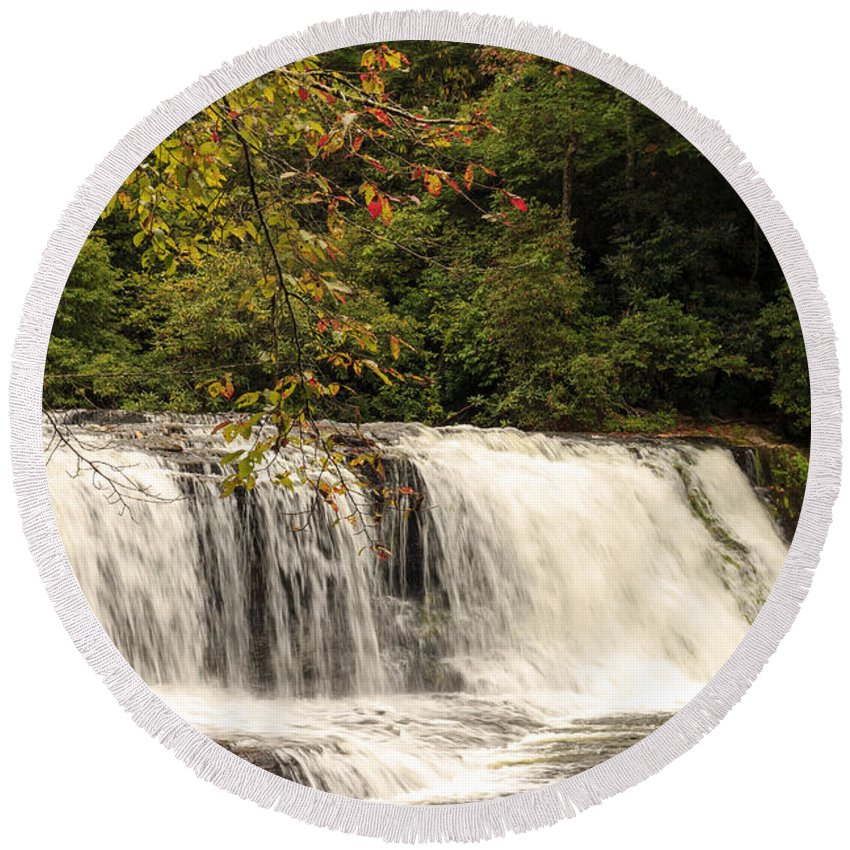 Autumn Round Beach Towel featuring the photograph Hooker Falls by Travis Rogers