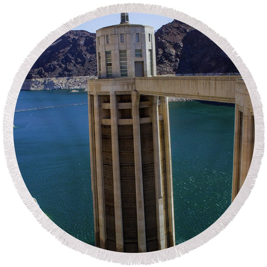 Hoover Dam Round Beach Towel featuring the photograph Hoover Dam by Bogdan Paius
