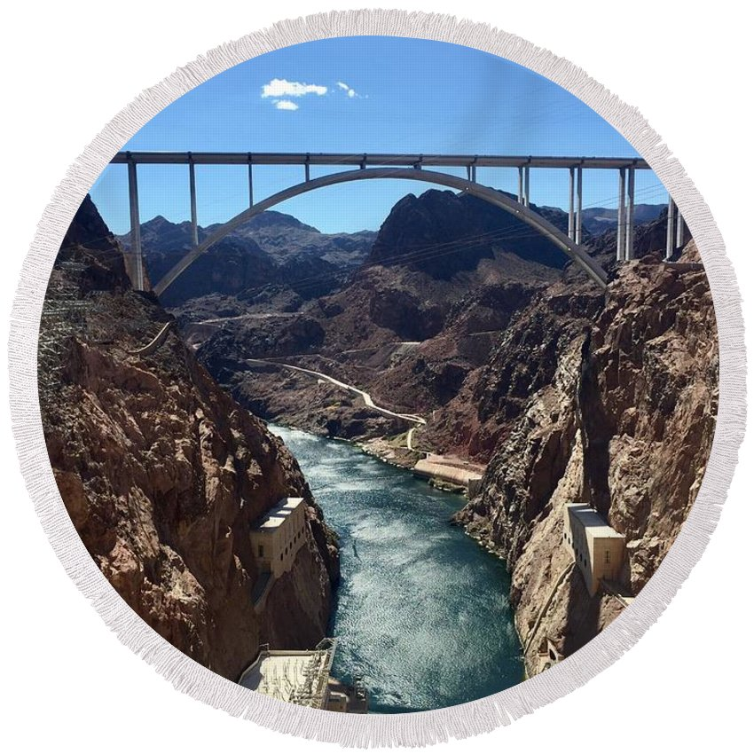Hoover Dam Round Beach Towel featuring the photograph Hoover Dam Bridge by Wendy S Beatty