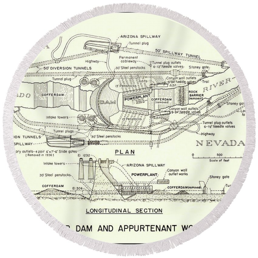 Hoover Dam Plan And Section 1935 Round Beach Towel For Sale By