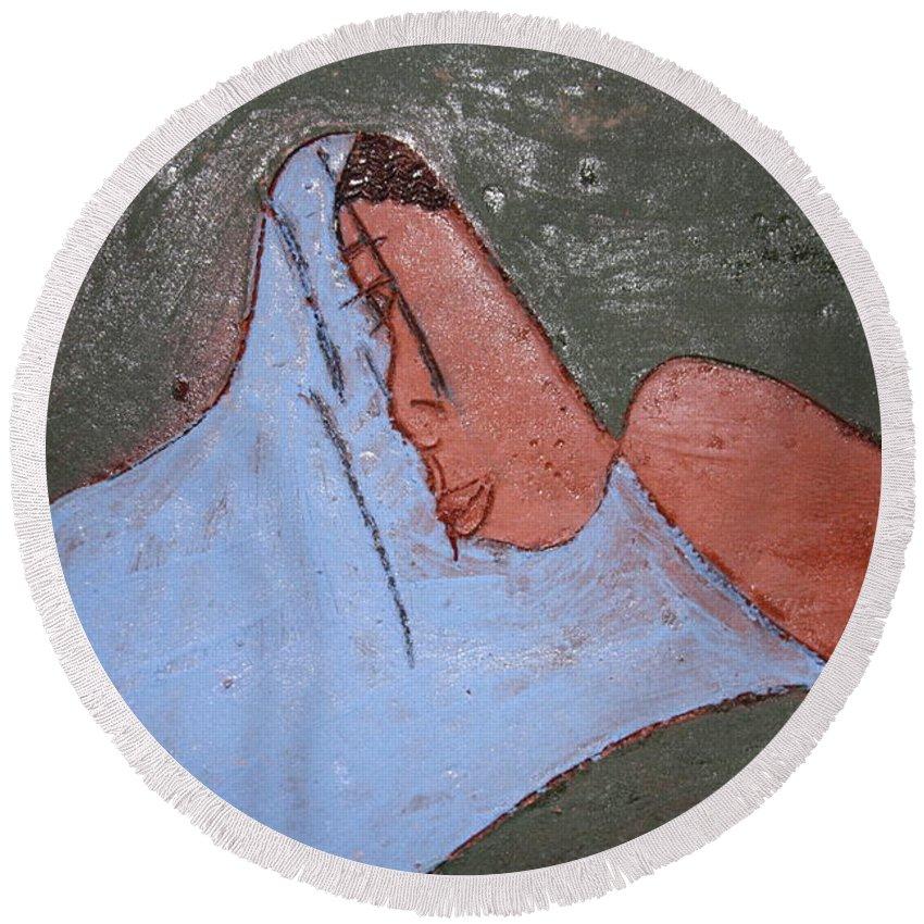 Jesus Round Beach Towel featuring the ceramic art Hope - Tile by Gloria Ssali