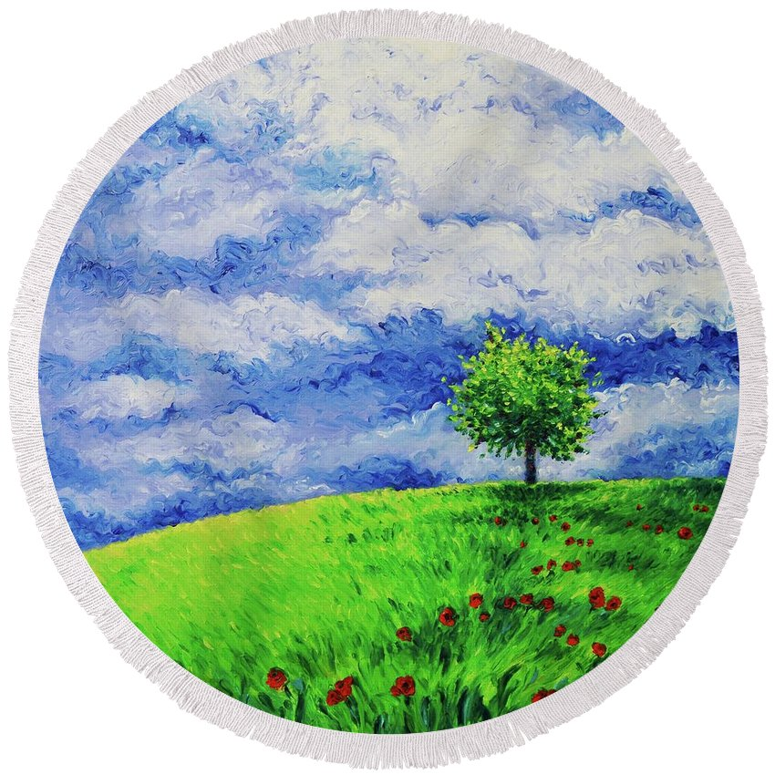 Landscape Round Beach Towel featuring the painting Hope by Elizabeth Cox