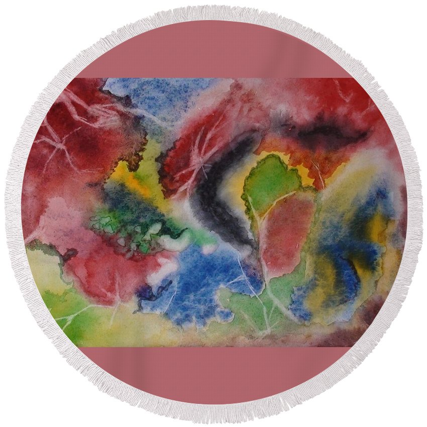 Abstract Painting Round Beach Towel featuring the painting Hope Energy by Georgeta Blanaru