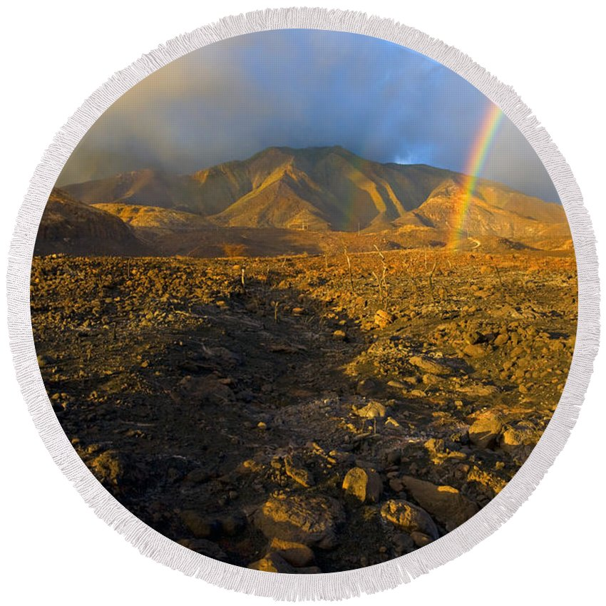 Rainbow Round Beach Towel featuring the photograph Hope From Desolation by Mike Dawson