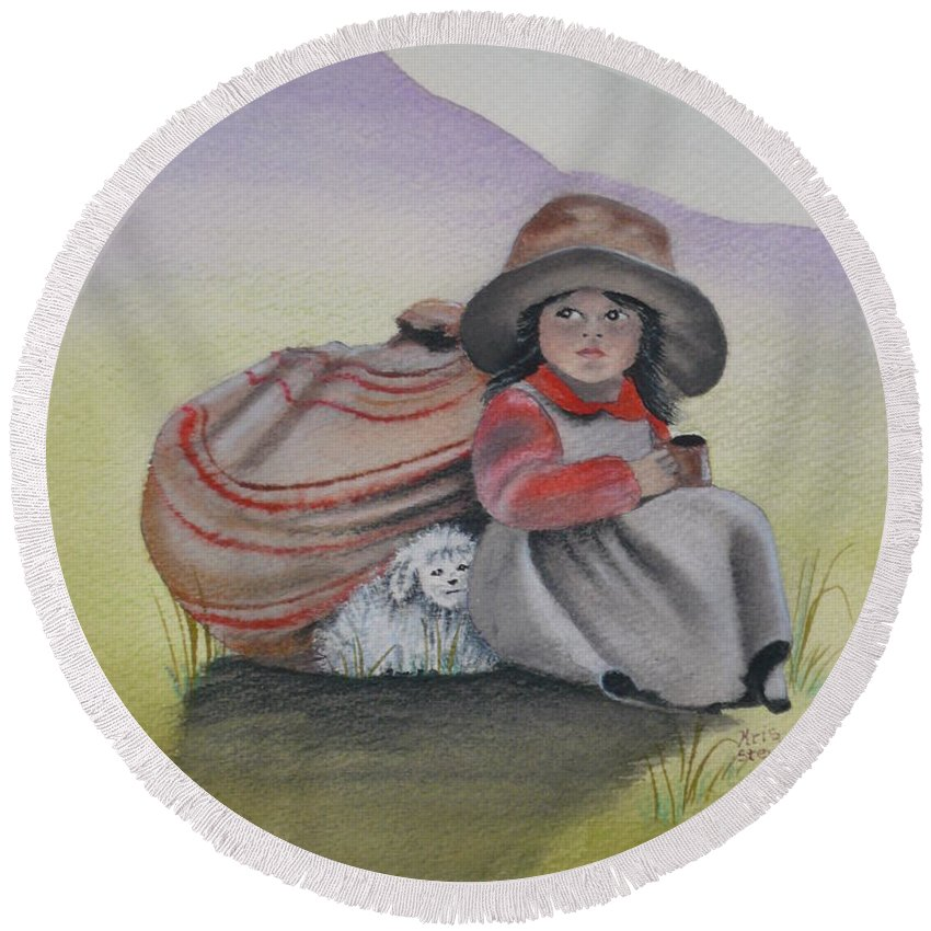 Children Round Beach Towel featuring the painting Hope by Kris Crollard