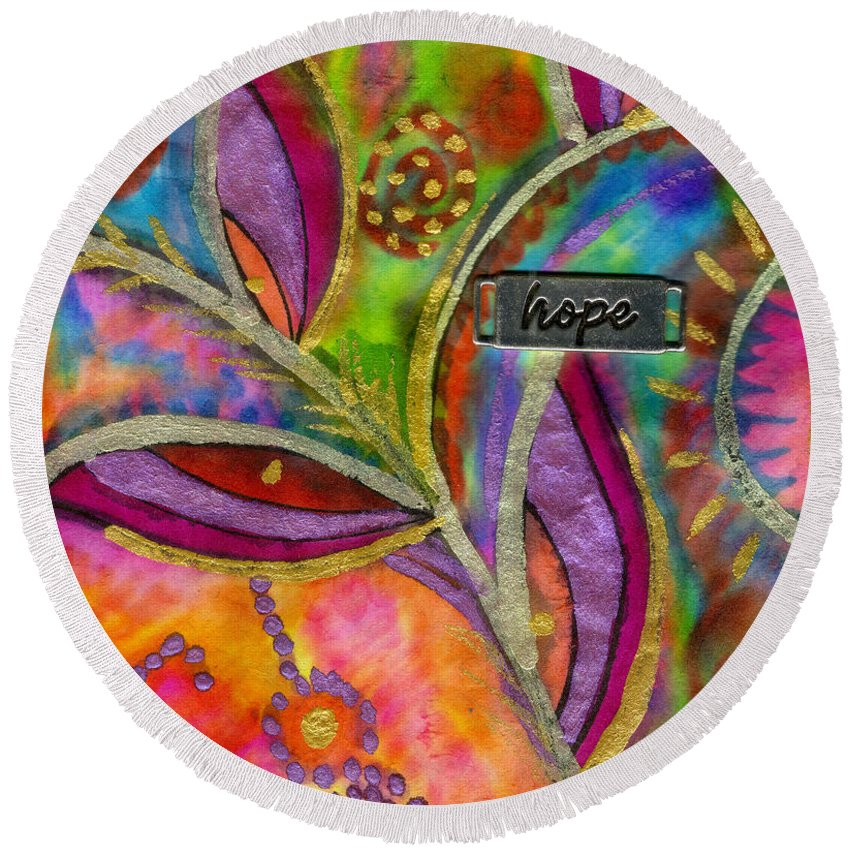 Abstract Round Beach Towel featuring the mixed media Hope Springs Anew by Angela L Walker