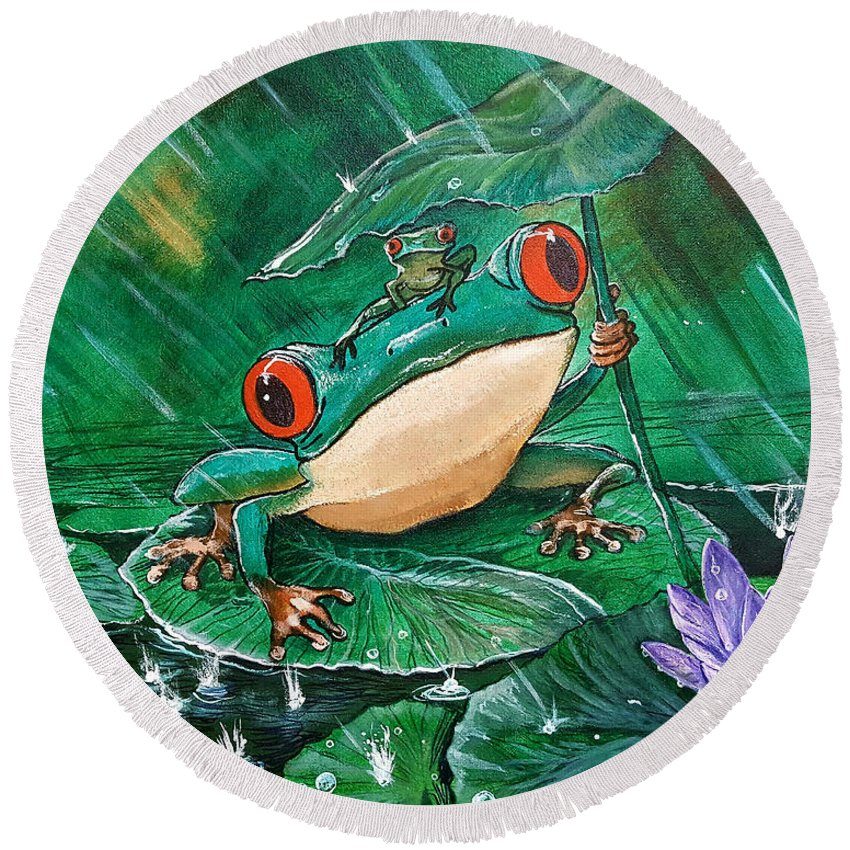 Frog Round Beach Towel featuring the painting Hoppin' In The Rain by Nicolas Avet