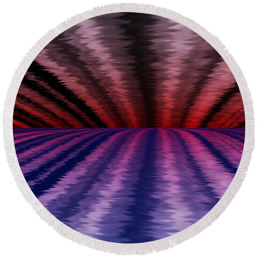 Abstract Round Beach Towel featuring the digital art Horizon by David Lane