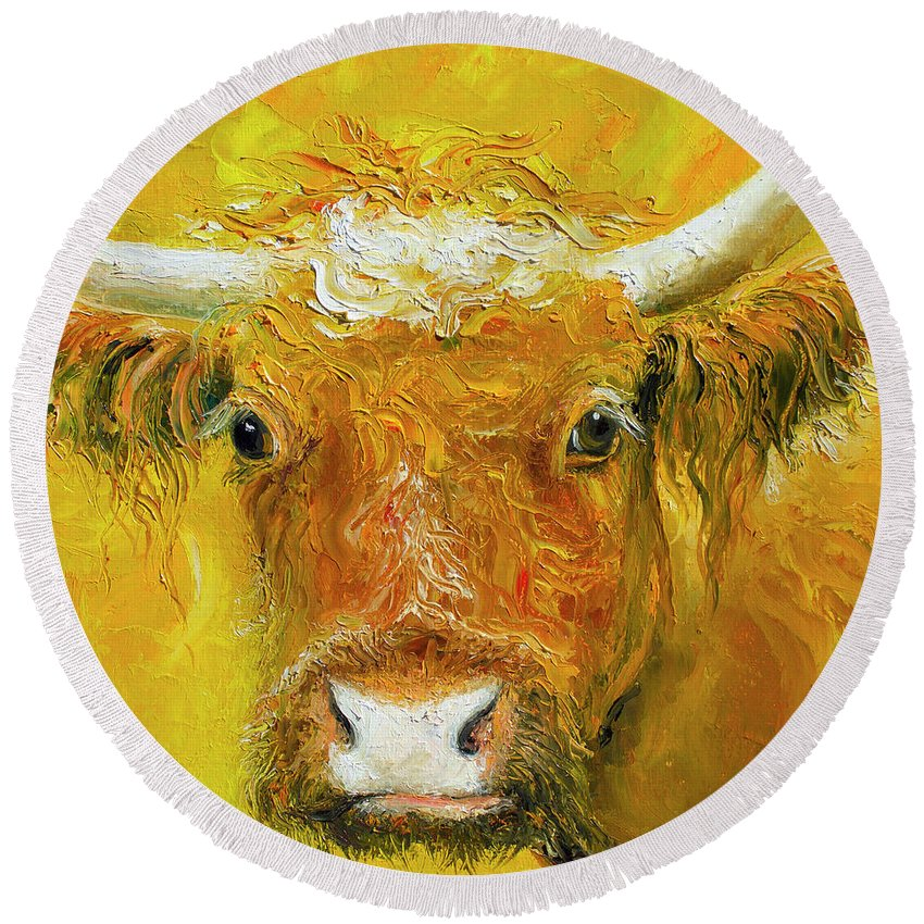 Cow Round Beach Towel featuring the painting Horned Cow Painting by Jan Matson