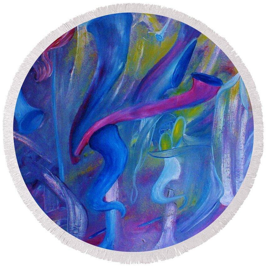 Abstract Round Beach Towel featuring the painting Horns by Lorenzo Roberts