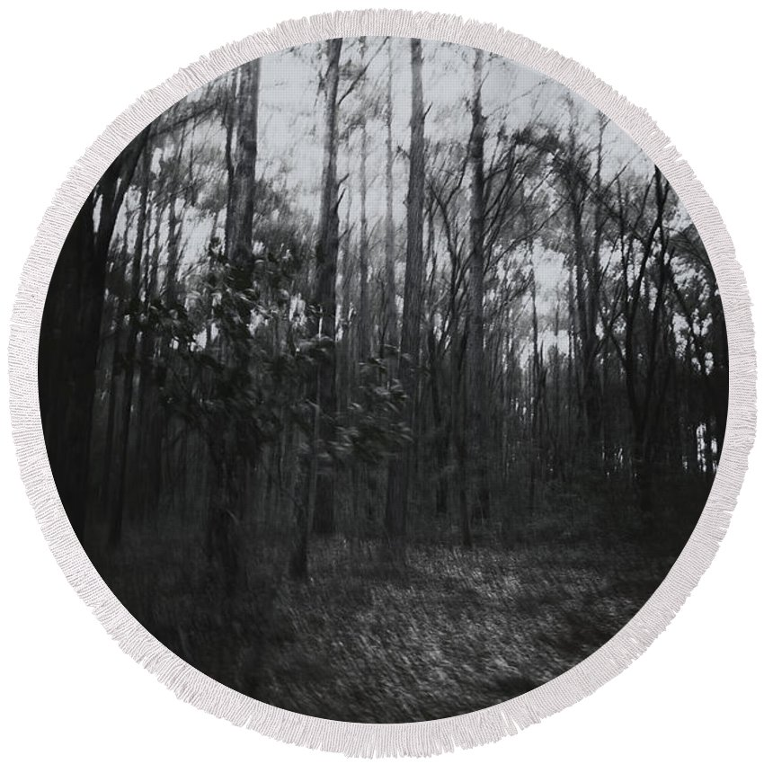 Trees Round Beach Towel featuring the photograph Horror In The Woods by Margie Hurwich