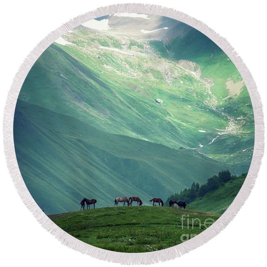 Mountain Round Beach Towel featuring the photograph Horse Among The Mountains Of Georgia by Andrew Chernenco