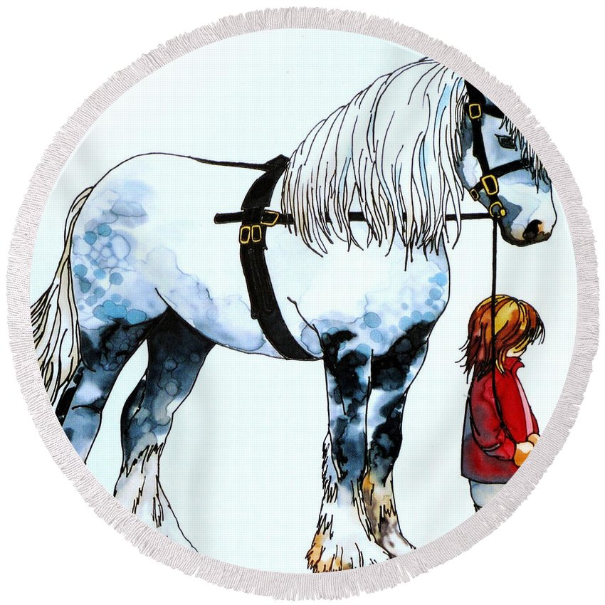 White Horse Round Beach Towel featuring the painting Horse And Groom by Paula Chapman