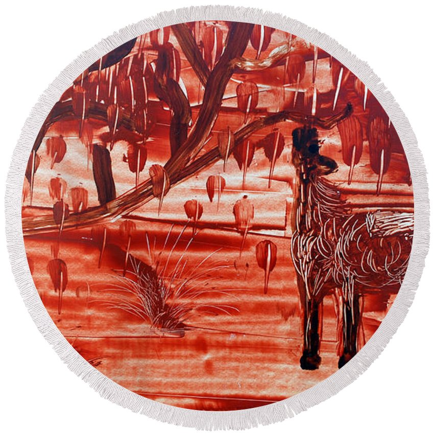 Montes Round Beach Towel featuring the painting Horse And Tree by Jose Luis Montes