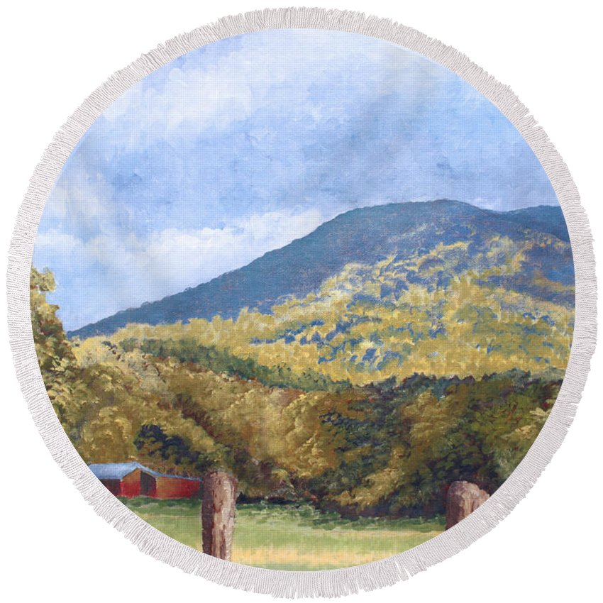 Landscape Round Beach Towel featuring the painting Horse Barn At Cades Cove by Todd A Blanchard