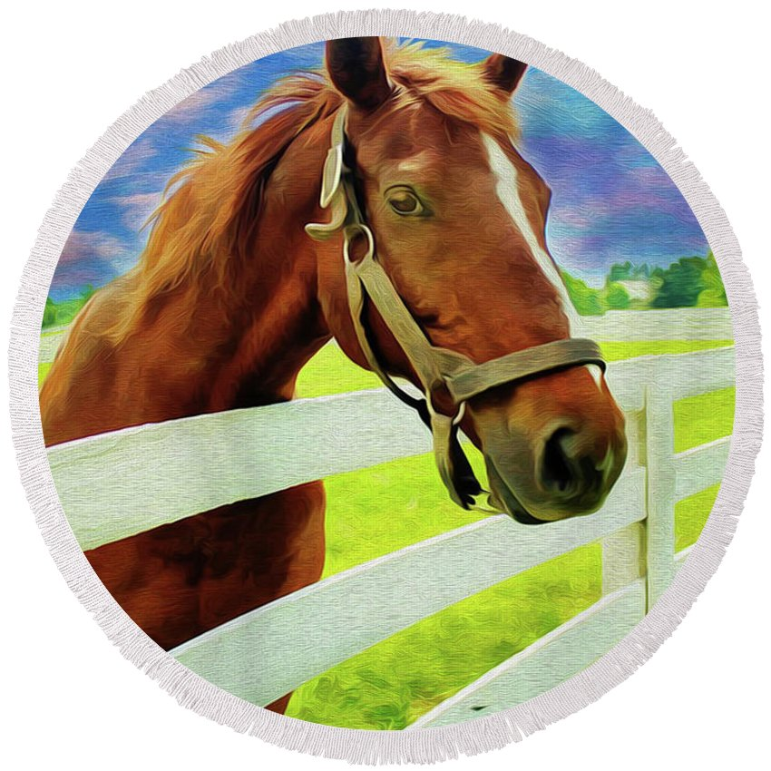 Horse By Nicholas Nixo Efthimiou Round Beach Towel featuring the painting Horse By Nicholas Nixo Efthimiou by Supreme Inc