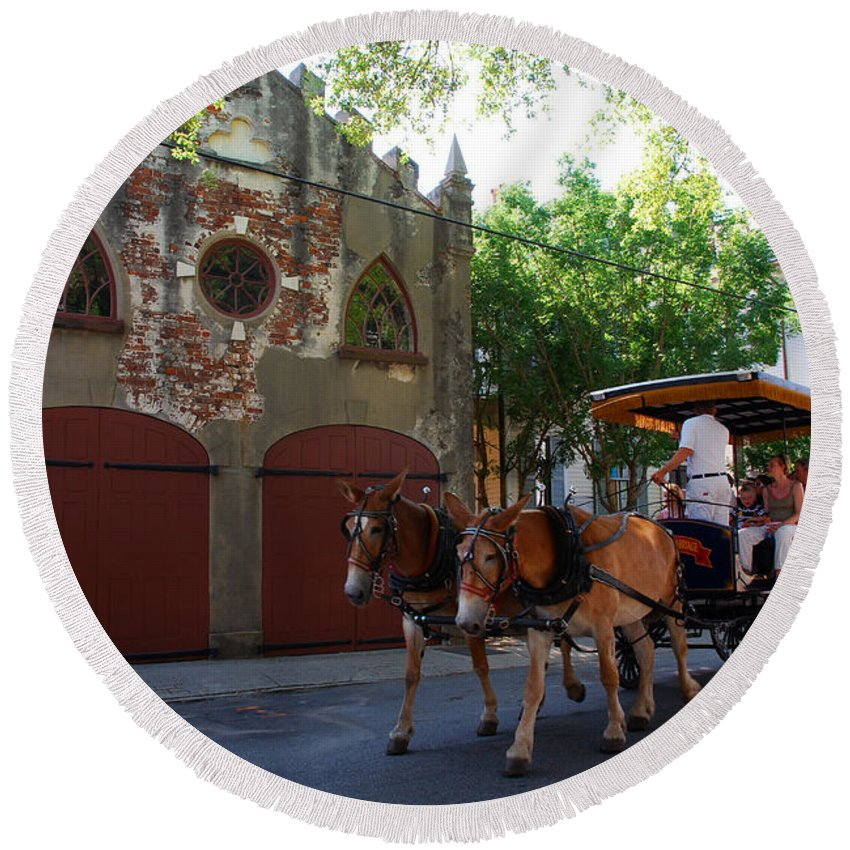 Photography Round Beach Towel featuring the photograph Horse Carriage At Kings Street by Susanne Van Hulst