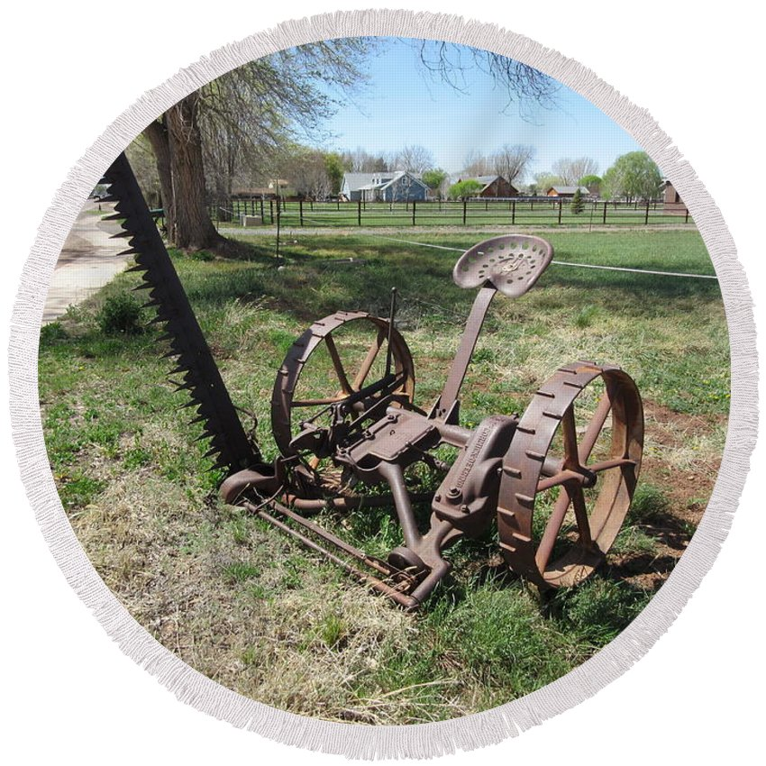 Antique Round Beach Towel featuring the photograph Horse Drawn Sickle Mower by Frederick Holiday