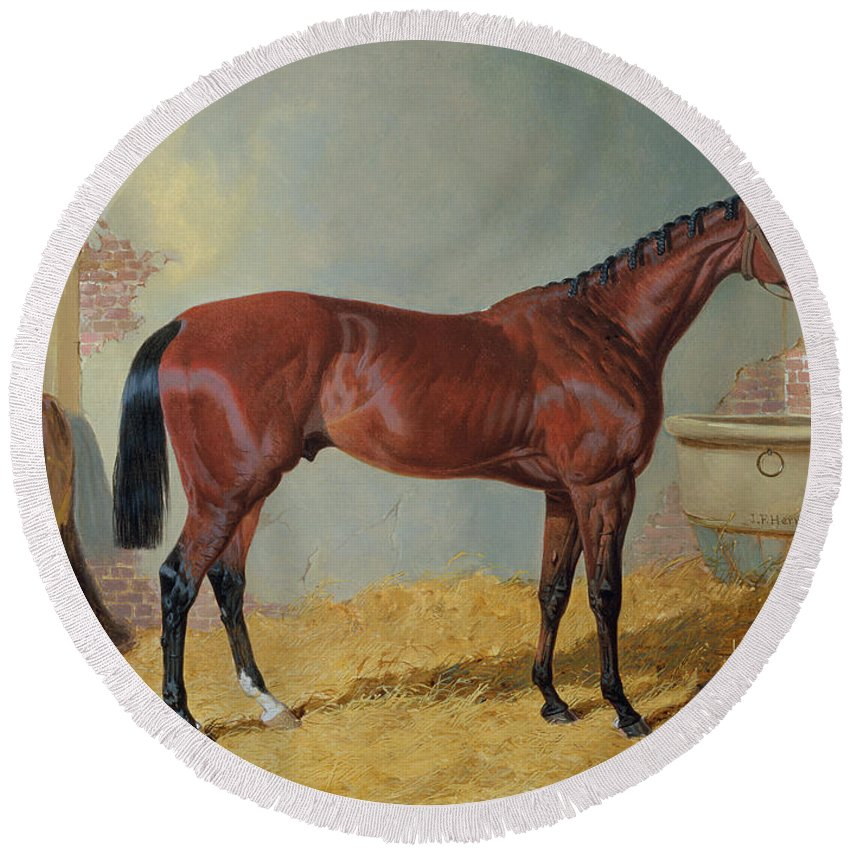 Mr S. Wrather's 'nutwith' In A Stable (oil On Canvas) By John Frederick Herring Snr (1795-1865) Round Beach Towel featuring the painting Horse In A Stable by John Frederick Herring Snr