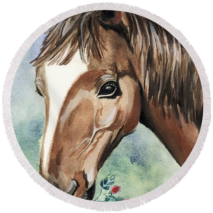 Horse Round Beach Towel featuring the painting Horse In Love by Alban Dizdari