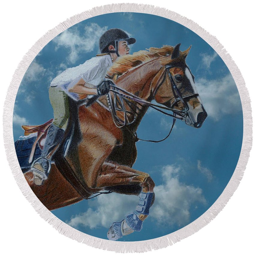 Horse Round Beach Towel featuring the painting Horse Jumper by Patricia Barmatz
